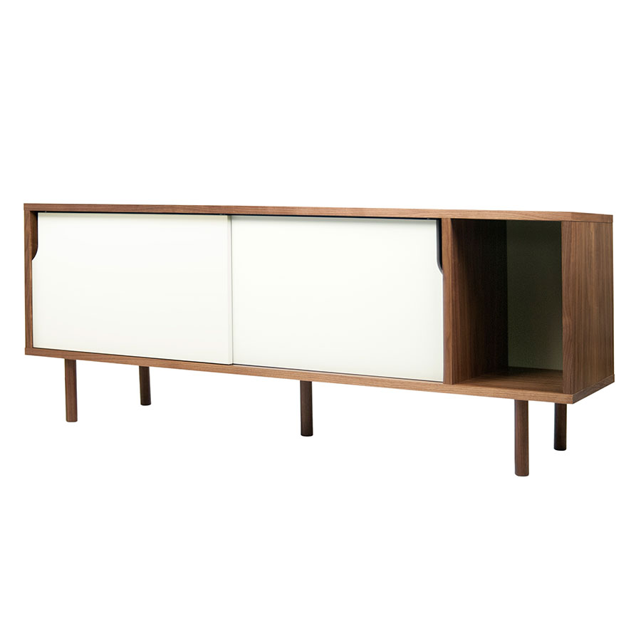Dann Walnut + White Contemporary Sideboard by TemaHome