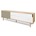 Dann Wide Modern Sideboard in Oak + White + Gray