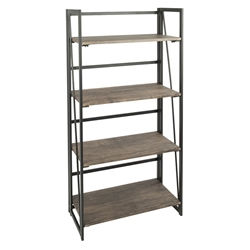 Dante Modern Industrial Wood + Metal Bookcase