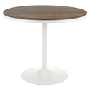 Dante White Metal + Brown Bamboo Dining Table