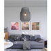 Darian Gray Woven Shade Contemporary Hanging Lamp
