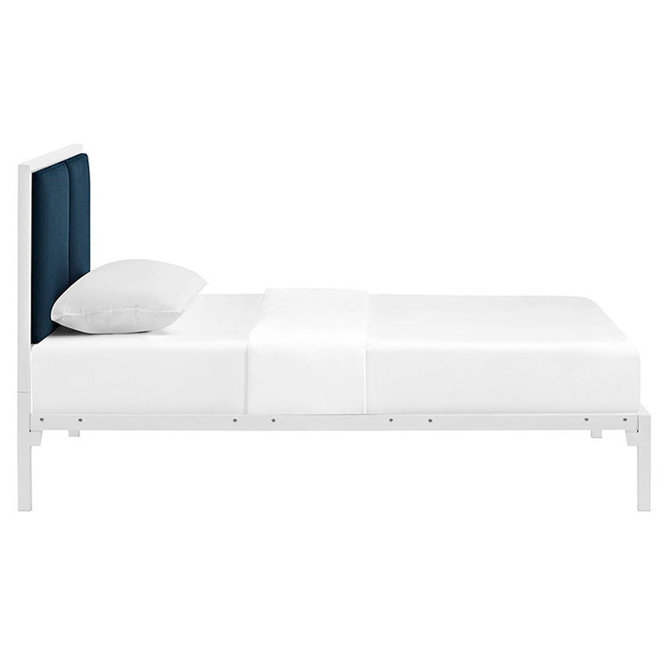 Darla Modern White + Azure Kid's Platform Bed - Side View