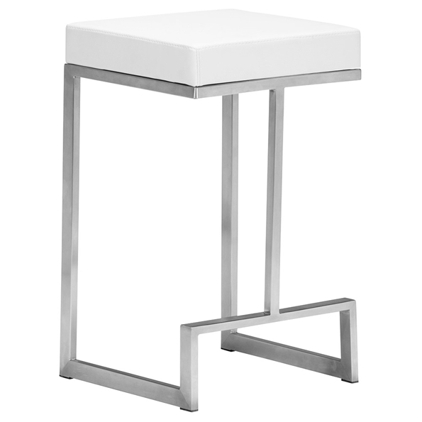 Darwen Modern White Counter Height Stool by Zuo