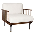 Distrikt Smoked Oak + Off White Fabric Modern Lounge Chair