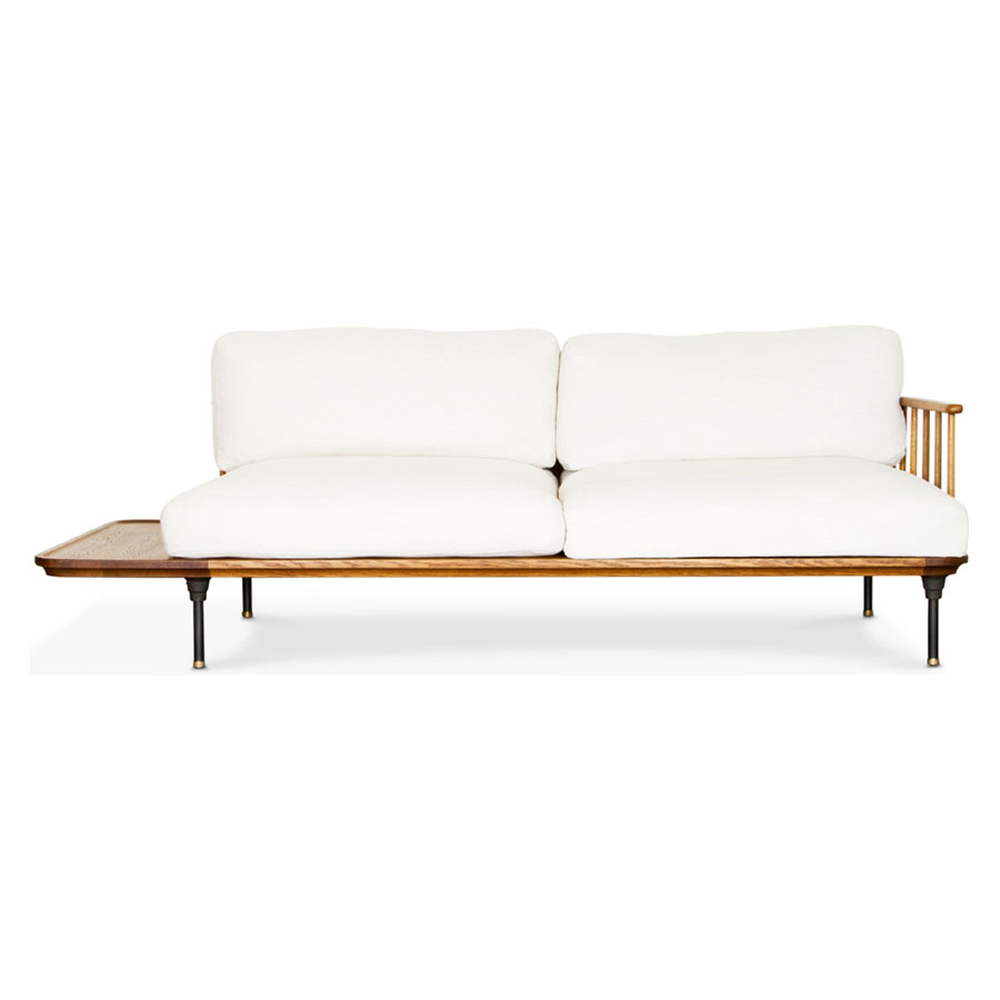 Distrikt Off White Fabric + Fumed Oak Modern Industrial Sofa