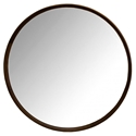 "Distrikt 40"" Round Smoked Oak Modern Wall Mirror"
