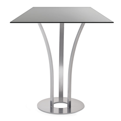Dalia Black Glass + Metal Modern Bar Height Table by Amisco