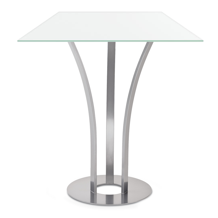 Davai White Glass + Metal Modern Bar Height Table