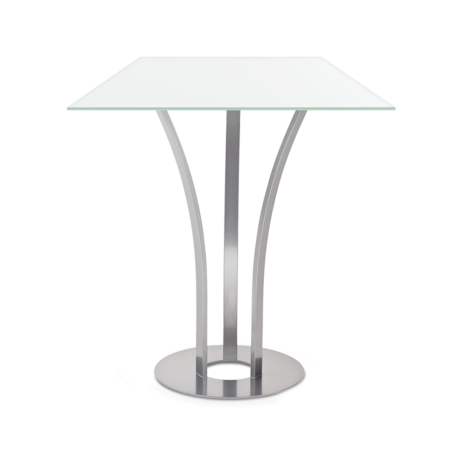 Davai White Glass + Metal Modern Counter Height Table