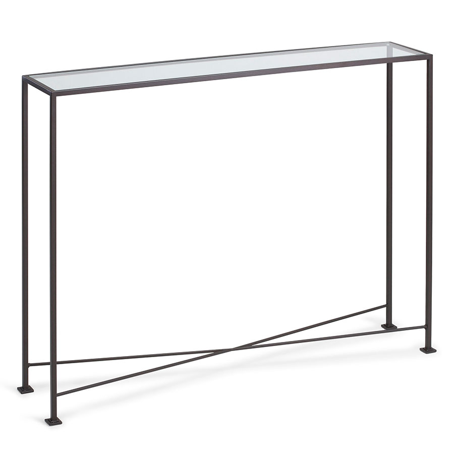 David Modern 40x8 Glass Top Console Table