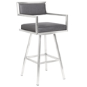 David Gray + Brushed Steel Modern Bar Stool