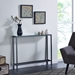 Davidson Contemporary Slim Console Table in Gun Metal and Mirrored Top