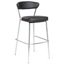 Davis Black Leatherette + Chromed Steel Modern Bar Stool