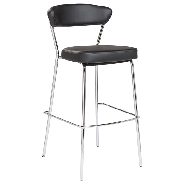 Draco-B Black Leatherette + Chromed Steel Modern Bar Stool