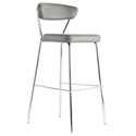 Draco-B Gray Leatherette + Chromed Steel Modern Bar Stool