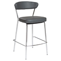 Draco-C Gray Leatherette + Chromed Steel Modern Counter Stool
