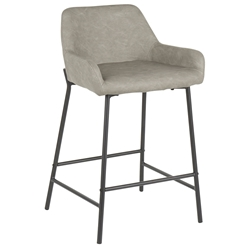 Davis Modern Grey + Black Counter Stool