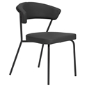 Draco Modern Dining Chair in Black + Black
