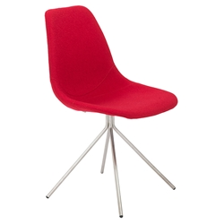 Dax Modern Side Chair in Red Fabric + Brushed Steel