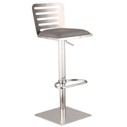 Dayton Gray + Brushed Steel Modern Adjustable Stool
