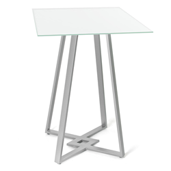 DeeDee White Glass + Metal Modern Bar Height Table