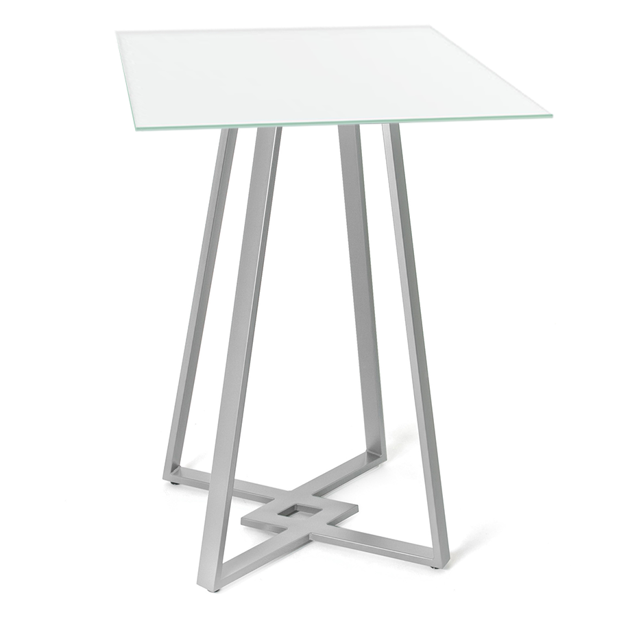 Contemporary bar height table - Deedee White Glass Metal Modern Bar Height Table