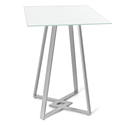 Dirk White Glass + Metal Modern Bar Height Table by Amisco