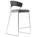 Modloft Delancey Deep Space Gray Eco Leather + Chromed Steel Modern Bar Stool