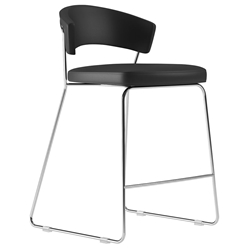 Modloft Delancey Black Eco Leather + Chromed Steel Modern Counter Stool