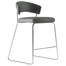 Modloft Delancey Deep Space Gray Eco Leather + Chromed Steel Modern Counter Stool