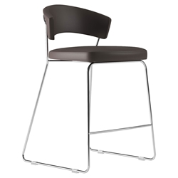 Modloft Delancey Java Eco Leather + Chromed Steel Modern Counter Stool
