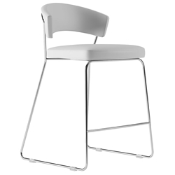 Modloft Delancey White Eco Leather + Chromed Steel Modern Counter Stool