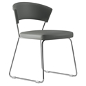 Modloft Delancey Modern Dining Chair in Deep Space Gray Eco Leather with Chrome