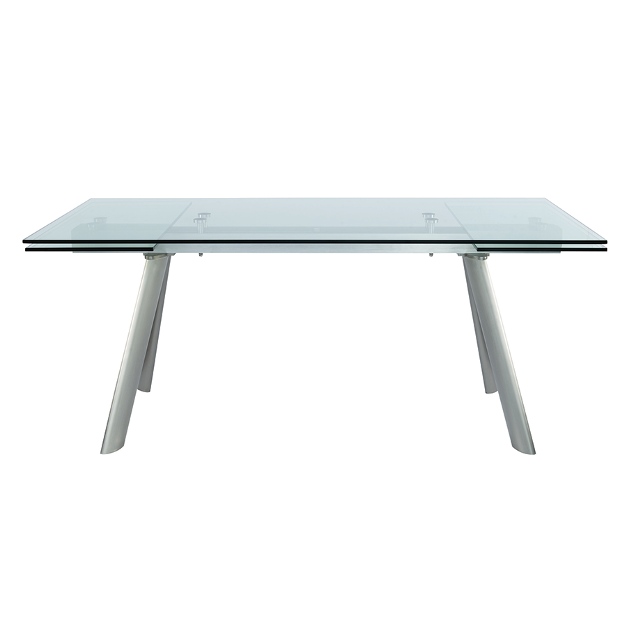 modern dining tables  delano extension table  eurway -  delano steel  glass contemporary extension table