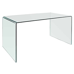Denmark 50 In. Modern Clear Bent Glass Desk