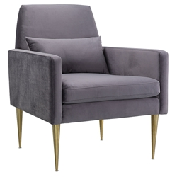 Denton Modern Grey Velvet + Gold Arm Chair
