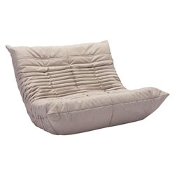 Derby Low Beige Polyblend Fabric Modern Loveseat