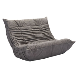 Derby Gray Polyblend Fabric Low Modern Loveseat