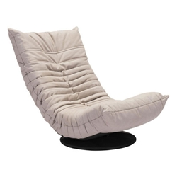Derby Low Beige Tufted Polyblend Fabric Modern Swivel Lounge Chair