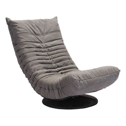 Derby Gray Tufted Polyblend Fabric Low Modern Swivel Lounge Chair