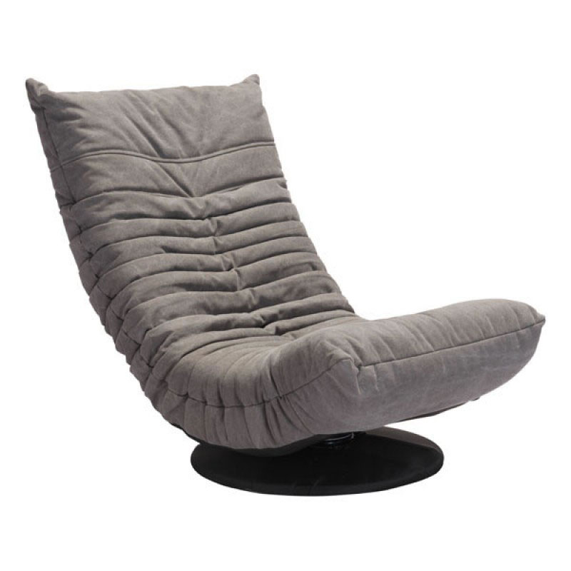 Call To Order · Derby Gray Tufted Polyblend Fabric Low Modern Swivel Lounge  Chair