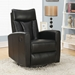 Derek Contemporary Black Leather Recliner Swivel Glider