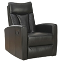 Derek Modern Black Leather Recliner Swivel Glider