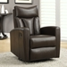Derek Contemporary Brown Leather Recliner Swivel Glider