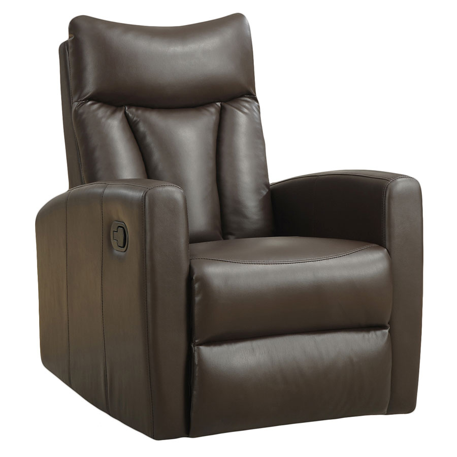 Derek Modern Brown Leather Recliner Swivel Glider