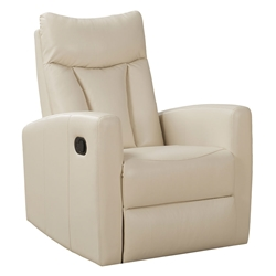 Derek Modern Ivory Leather Recliner Swivel Glider