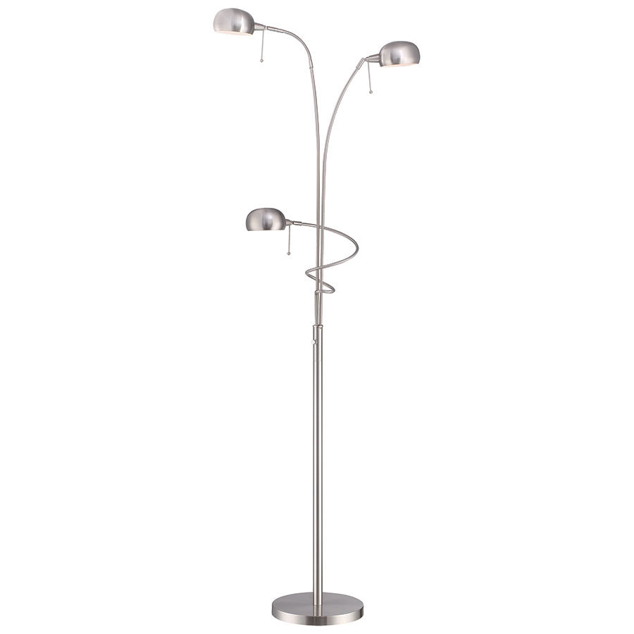 Despina Polished Steel Adjustable Triple Floor Lamp