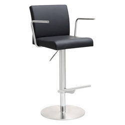 Detleff Black Adjustable Modern Stool