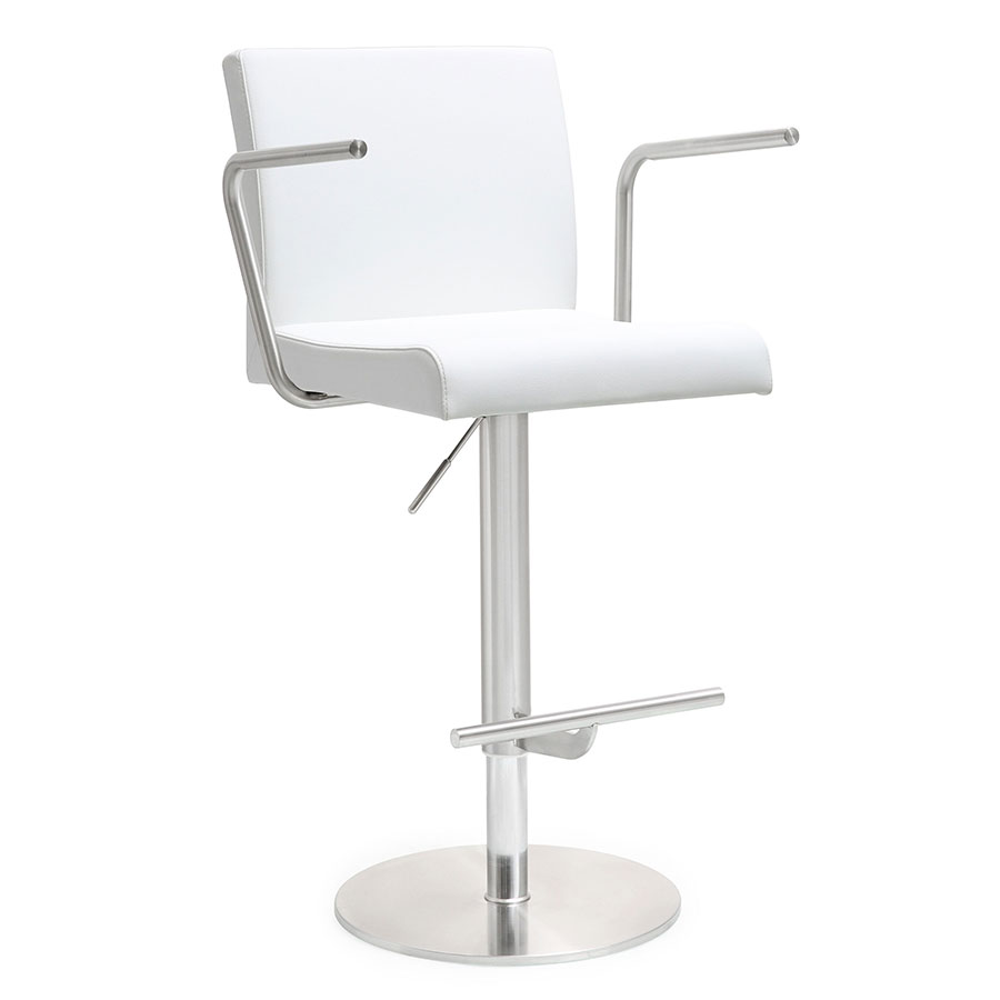 Detleff White Adjustable Modern Stool