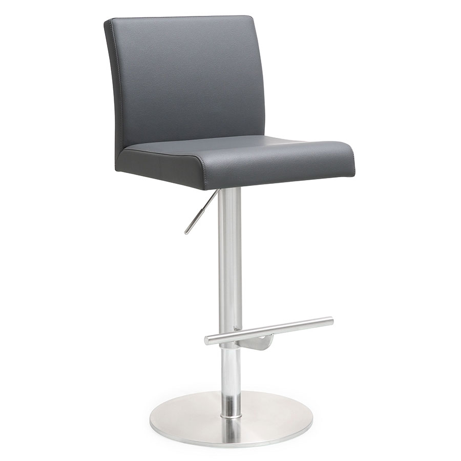 Detleff Gray Armless Adjustable Contemporary Stool
